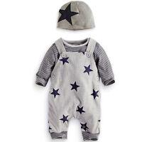 3pcs/Set Toddler Kids Baby Boys Outfits Hat+T-shirt+straps pants Clothes suits