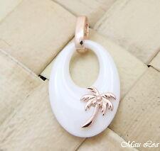 PLATA 925 Rosa Oro Rosa HAWÁI COCO Palmera cerámica blanca colgante oval
