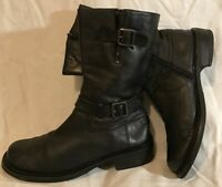 GUGU Black Mid Calf Leather Lovely Boots Size 38 (572Q)