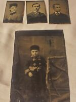 Vintage Antique   (4) Tin Type Photo Photographs Civil War Era