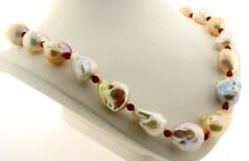 """14X19MM - 17X20MM Multi Color FW Pearl & Red Crystal Necklace 14K Clasp, 20.5"""""""