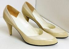 GUC Christian Dior Women's Size 7 1/2 B Cream and White Leather Classic Pumps