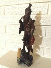 Beautiful Vintage Carved Wood Asian Oriental Happy Bearded  Man/god  Statue