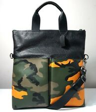 Coach Men's Charles Camo Tangerine Pebble Leather Foldover Tote Bag F24765