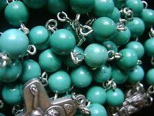 RARE Precious Turquoise BEADS Catholic ROSARY bead CROSS crucifix necklace