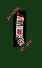 Pattern only ~ hand knit Christmas stocking ~~ snowflake, heart and wreath