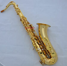 Professional new Gold lacq Bb Tenor Saxophone Saxofon High F# Sax with Case