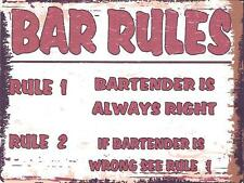 BAR RULES METAL SIGN RETRO VINTAGE STYLE SMALL