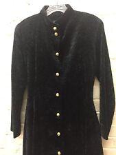 Vtg S/M Victorian Style Crushed Velvet Fitted Braid Buttons CoatDress *Mane*