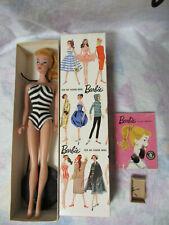 Vintage STOCK No 850 Blond Box, #4 Ponytail Barbie, Round Stand, Booklet