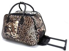 New Tiger Print Cabin Trolley Hand Luggage Holdall Suitcase Carry on Bag Case UK