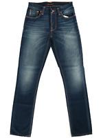 Nudie Herren Slim Fit Jeans Hose - Grim Tim Organic Double Indigo