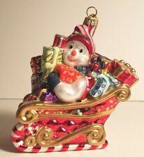Kurt Adler Polonaise Komozja Snowman Shopper Glass Xmas Ornament Sleigh Ap 1587