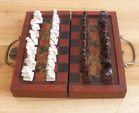 Chinese Army Style 32 Pieces Chess Set Leather Wood Box AAA