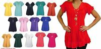 Womens Frill Necklace Gypsy Ladies Tunic V Neck Summer Tops Plus Sizes 8-26