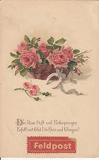 CN39.Vintage German Greetings Postcard. Feldpost, 1918. Basket of pink roses.