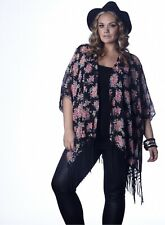 Womens Plus Size Black & Floral Chiffon Kimono Cover Up w/ Tassel Fringe 1x2x3x