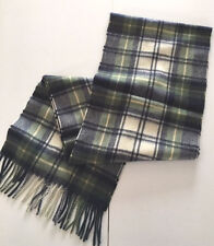 NWOT NEW 100% CASHMERE Men's scarf NAVY PLAID Classic FREE SHIPPING