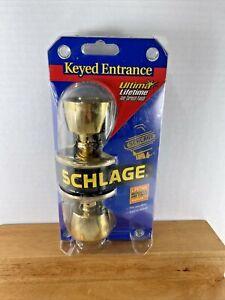 VTG NOS 2000 Schlage Keyed Entrance Fits Any Door BRASS TONE F51 V4 BEL 505 605