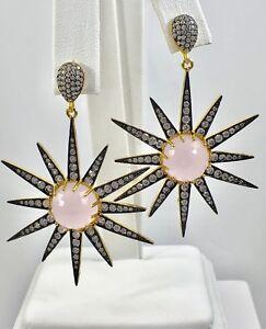 Rose Quartz Starburst 22kt Gold Over Sterling Silver Drop/Dangle Earrings, New