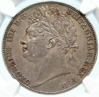 1820 GREAT BRITAIN UK King George IV Silver HALF CROWN Cowin NGC AU 58 i83987