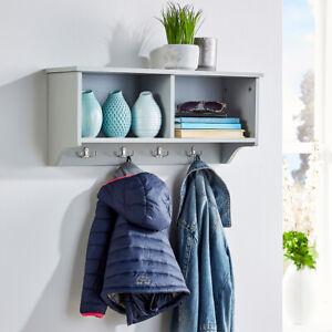 Coat Hook Wall Mounted Unit Grey 2 Open Shelves 4 Robe Hooks Bathroom Hallway