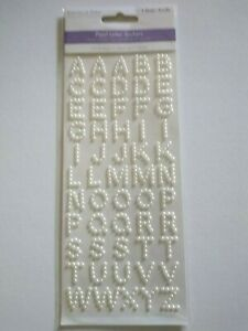 Crafts FIT Stickers 3D Alphabet White Pearls Letters Capitals