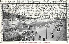 918/ Foto AK, Südafrika, Beach at Christmas East London, Straßenbahn, 1908