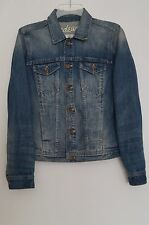 MADEWELL BLUE DENIM JEAN JACKET WOMENS SIZE SMALL WASH SANDED EFFECT $118