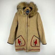 Inuit James Bay Women Wool Fur Trim Vintage Parka Coat Size 12 Beige Embroidered