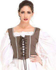 White 3//4 Sleeve Womens Renaissance Pirate Maiden Costume Shirt