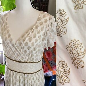 Indian Cotton Floral APRIL CORNELL WHITE Lace BOHO Gold Stamped DRESS SIZE L