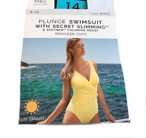 Size 14 M&S Wrap Style Sun Smart UPF50+ Padded Tummy Control Plunge Swimsuit