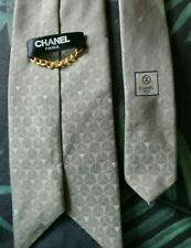 Mens Authentic CHANEL Gold Chain Silk Neck Tie Made In Italy