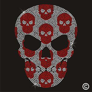Skulls In Skull Rhinestone Diamanté Transfer Hotfix (iron on motif)