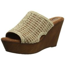 Sbicca Womens Crocheted Wooden Wedge Sandles By Vintage Collection Size 10