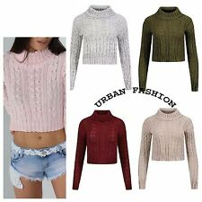 Womens Ladies Polo Turtle Neck Cable Knit Long Sleeve Winter Cropped Jumper Top