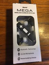 New listing iWorld Pulse Wireless Bluetooth Stereo Earbuds (Black) with In-line Microphone !