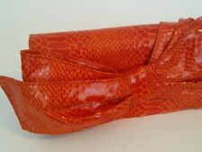 Nine West Purse Orange Faux Leather Clutch Bow Enveloped Handbag Womens Bag