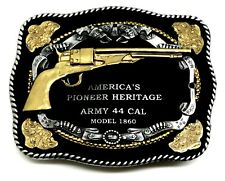 Gun Belt Buckle Army 44 Cal Revolver American Western Theme Authentic White Wolf
