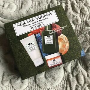 NEW - Origins Mega Glow Essentials Gift Set Oily/Normal Skin - Cleanse/Soothe/