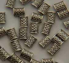 40 x Tibetan Silver Flat Rectangle Bead Spacer - Celtic Knot Design ~ 7mm