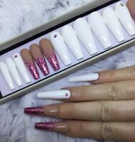 White Glam Glitter False Fake Extra Long Ballerina Nails Set