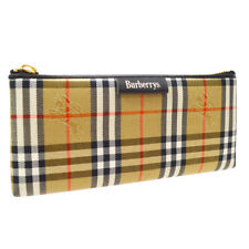 BURBERRY'S Check Pattern Pencil Case Pencil Box Pouch Beige Authentic A53965