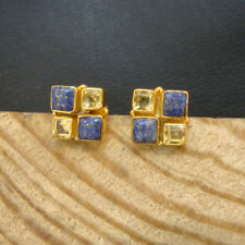 Beautiful Citrine Or Lapis Lazuli 925 Sterling Silver Gold Plated Stud Earrings