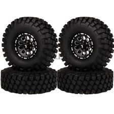 Silver Wheel Rims Hux 12mm and Rubber Tires for RC1:10 Drift Car Set of 4