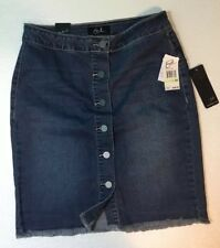 NEW EARL JEAN Jean Skirt Size 4 Small Blue Denim Fringe Hem Button Front Dress