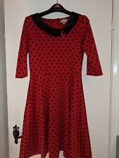 Lindy Bop Rojo De Lunares Vestido Talla 14