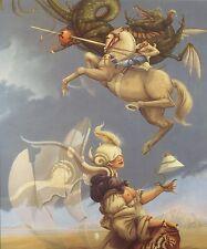 Michael Parkes BATTLE MARE IMBRIUM dragon horse knight tiger fantasy art print