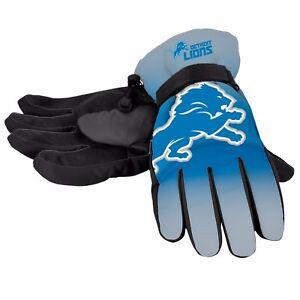 Detroit Lions Gloves Big Logo Gradient Insulated Winter NEW Unisex S/M L/XL